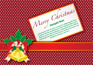 Merry Christmas Gift Card with Gold Bell on Red Background