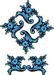 Figure Classical Pattern Vector Material Blue Classic