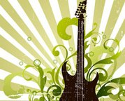 Abstract Guitar with Floral Artwork