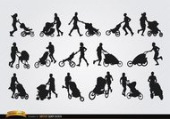 Parents with baby carriage silhouettes