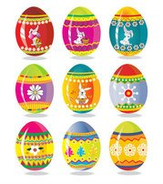 Colorful designer eggs