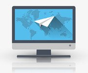 Widescreen with blue world map and icon paper airplane