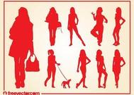 Girls Silhouettes Vectors