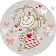 GIRL WITH FLYING HEARTS VECTOR.eps