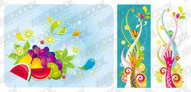 Vector material the tide of colorful fruits and themes