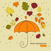 Funky Hand Drawn Autumn Leaves with Rain