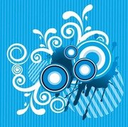 Abstract Floral with Sound Blue Background