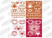 A variety of heart-shaped pattern with the lace element vect