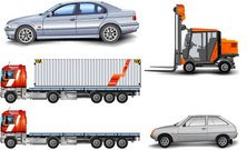 Forklift, Lorry and Car