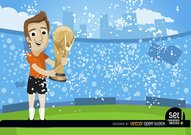 Footballer with FIFA World Cup Trophy