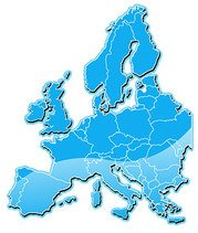 Blue Crystal-style plate vector map of Europe