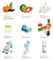 Children's items and fruits and vegetables icon vector mater