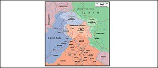 Vector map of the world exquisite material - Kashmir, Jammu