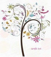 Abstract Swirl Floral Tree