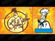 Hand-painted material vector of foreign chefs
