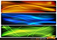 Abstract wave headers oranje blauw groen