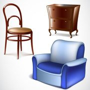 Vector furniture designs chair, sofa , alamara