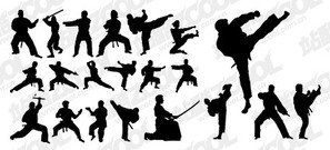 Kung Fu Martial Arts Action Figur Silhouetten Vektor materi
