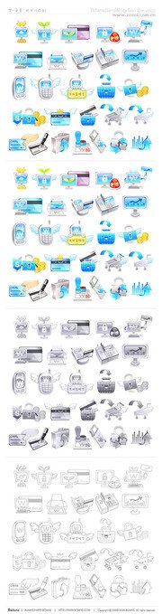 Cute icon vector material financial topics