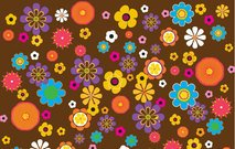 Retro Flowers Pattern Retro Old Brown