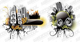 2 Music City Vector Illustration material