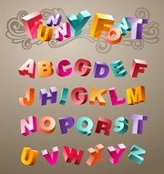 Threedimensional Vector Cute Letters