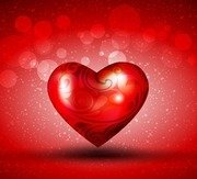 Red Heart over Bright Background