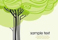 Card with stylized vector trees