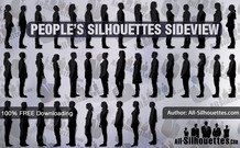 67 personnes silhouettes sideview
