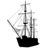 Caravel Sailing Ship Silhouette Vector Art