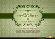 Marriage invitation with floral frame