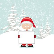 Santa Cartoon Holding leeren Brett