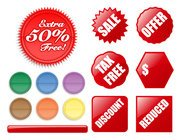Various shapes of the decorative buttons and label vector ma