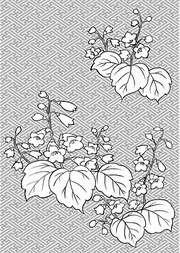 Japanese line drawing of plant flowers vector material -29 (