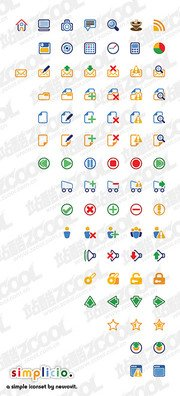 Simple cartoon-style vector icons web design commonly used m