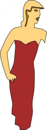 Cartoon Lady Wearing Fashion Dress