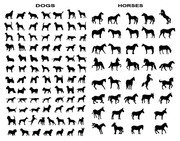 A variety of horse and dog silhouettes vector material movem