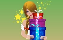 Abstract amazing vector with Girl and X-mas Gifts