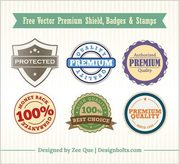 Vintage Premium Shield Badges & Stamps