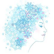 Snowflake pattern vector woman in profile