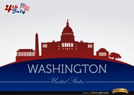 Washington stad silhouetten op 4 juli