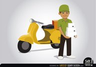 Delivery man with motorcycle