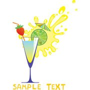 Glass And Fruit Juices High Cartoon 05 - Vector Glass