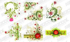Combination of red flowers, green pattern