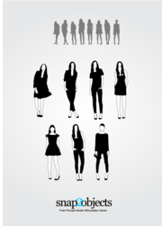 7 Free Female Model Silhouettes Vector Pack 01
