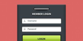 Member login form UI element (PSD)