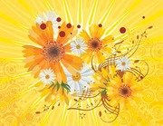 Vector Flower Abstract Yellow Background