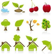 Set of 12 environmental green icons