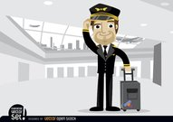 Airplane pilot with baggage in airport