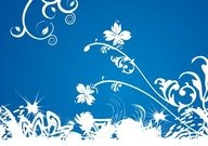 White Floral on Blue Background